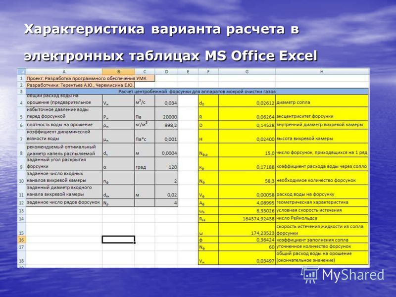 Характеристика варианта расчета в электронных таблицах MS Office Excel