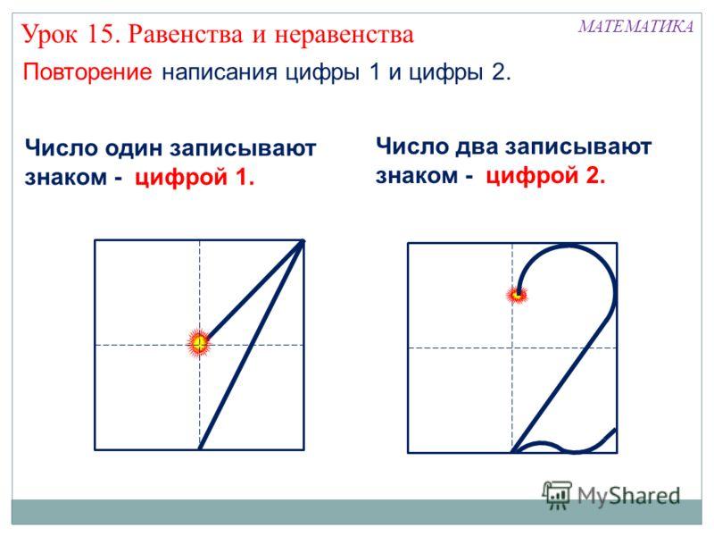 Повторение написания цифры 1 и цифры 2. МАТЕМАТИКА Число два записывают знаком - цифрой 2. Число один записывают знаком - цифрой 1. Урок 15. Равенства и неравенства
