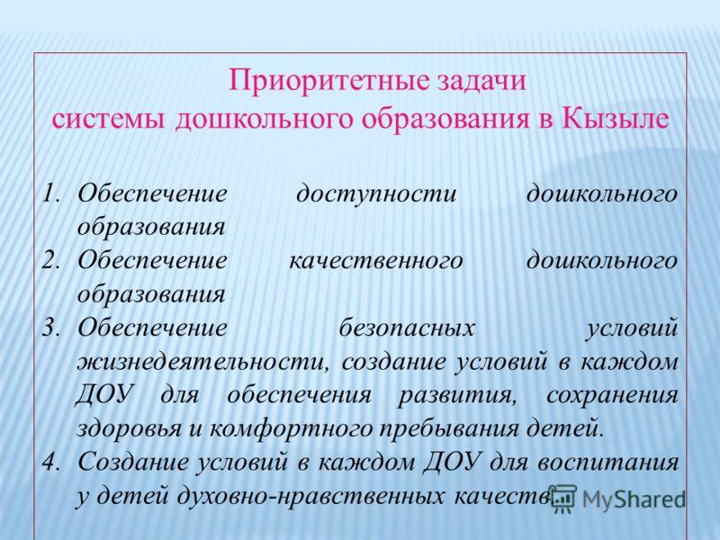 Приоритетные задачи системы дошкольного образования в Кызыле 1.Обеспечение доступности дошкольного образования 2.Обеспечение качественного дошкольного образования 3.Обеспечение безопасных условий жизнедеятельности, создание условий в каждом ДОУ для о