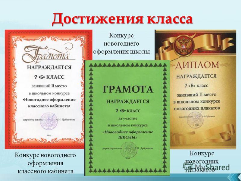 Конкурс новогоднего оформления классного кабинета Конкурс новогоднего оформления школы Конкурс новогодних плакатов