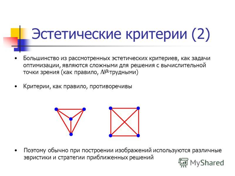 Эстетические критерии (2) Большинство из рассмотренных эстетических критериев, как задачи оптимизации, являются сложными для решения с вычислительной точки зрения (как правило, NP-трудными) Критерии, как правило, противоречивы Поэтому обычно при пост