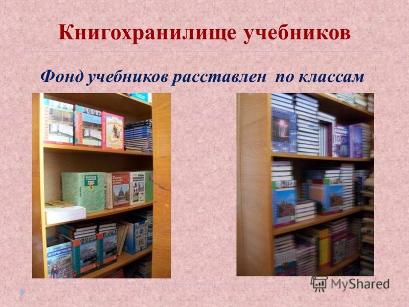Книгохранилище учебников Фонд учебников расставлен по классам