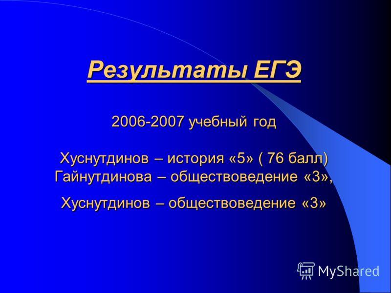 Результаты ЕГЭ 2006-2007 учебный год Хуснутдинов – история «5» ( 76 балл) Гайнутдинова – обществоведение «3», Хуснутдинов – обществоведение «3»