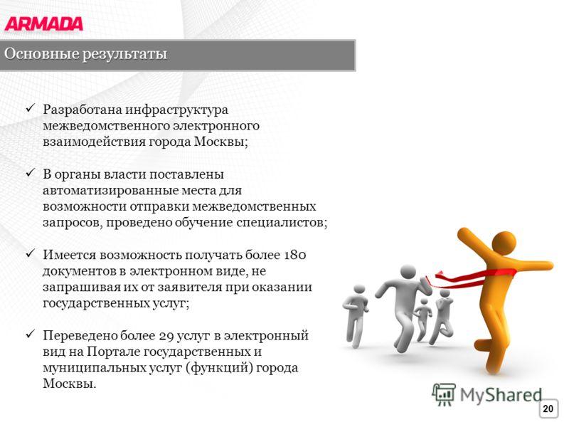 20 Разработана инфраструктура межведомственного электронного взаимодействия города Москвы; В органы власти поставлены автоматизированные места для возможности отправки межведомственных запросов, проведено обучение специалистов; Имеется возможность по