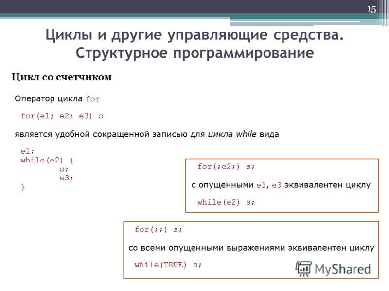 Циклы и другие управляющие средства. Структурное программирование 15 Цикл со счетчиком