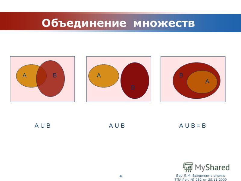 Бер Л.М. Введение в анализ. ТПУ Рег. 282 от 25.11.2009 Company Logo 4 Объединение множеств А U В А U В = В АА А В В В