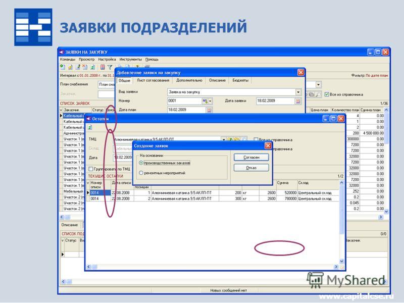 Управление снабжением8 ЗАЯВКИ ПОДРАЗДЕЛЕНИЙ www.capitalcse.ru
