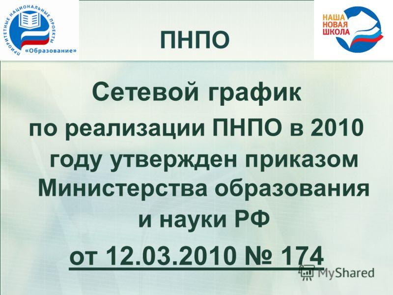 ПНПО Сетевой график по реализации ПНПО в 2010 году утвержден приказом Министерства образования и науки РФ от 12.03.2010 174