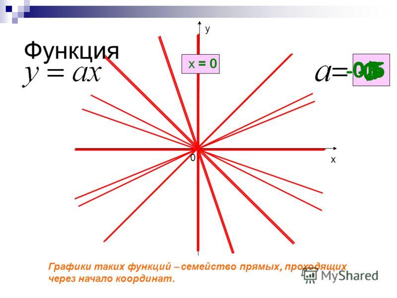 Функция Графики т аких ф ункций – с емейство п рямых, п роходящих через н ачало к оординат. 0 0,5 1 х = 0 -3 -0,5 х у 0