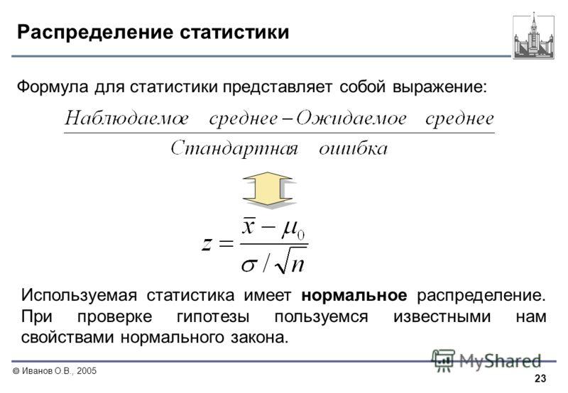 23 Иванов О.В., 2005 Распределение статистики Формула для статистики представляет собой выражение: Используемая статистика имеет нормальное распределение. При проверке гипотезы пользуемся известными нам свойствами нормального закона.