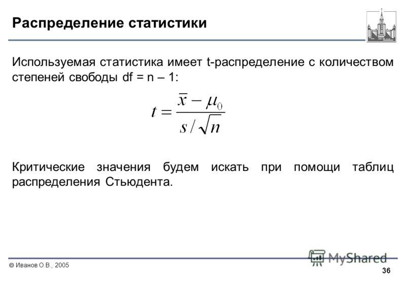 36 Иванов О.В., 2005 Распределение статистики Используемая статистика имеет t-распределение c количеством степеней свободы df = n – 1: Критические значения будем искать при помощи таблиц распределения Стьюдента.