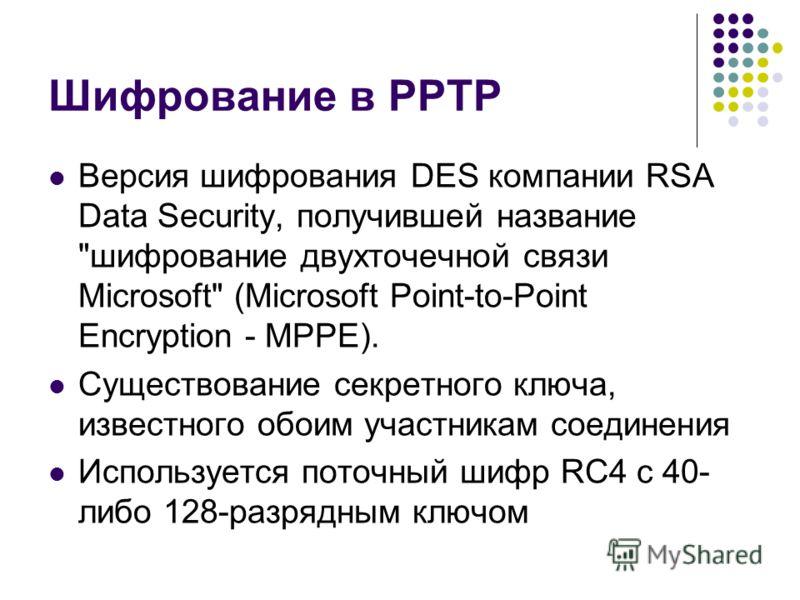 Шифрование в PPTP Версия шифрования DES компании RSA Data Security, получившей название
