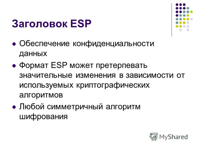 Заголовок ESP Обеспечение конфиденциальности данных Формат ESP может претерпевать значительные изменения в зависимости от используемых криптографических алгоритмов Любой симметричный алгоритм шифрования