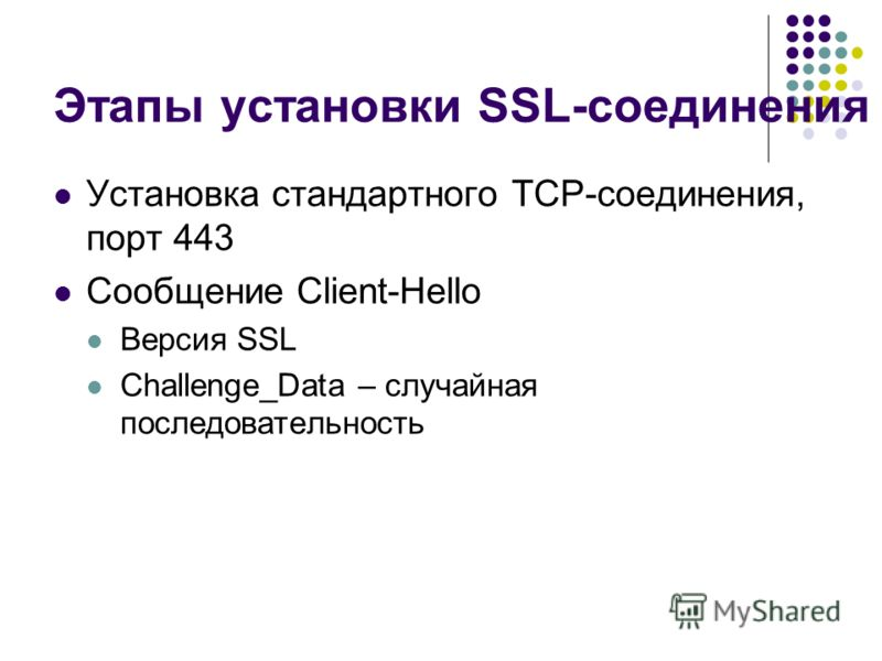 Этапы установки SSL-соединения Установка стандартного TCP-соединения, порт 443 Сообщение Client-Hello Версия SSL Challenge_Data – случайная последовательность