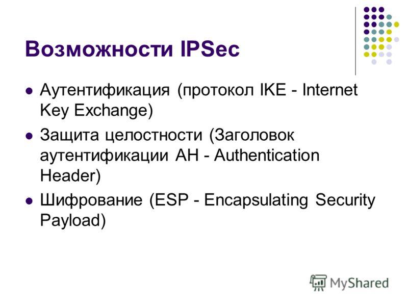 Возможности IPSec Аутентификация (протокол IKE - Internet Key Exchange) Защита целостности (Заголовок аутентификации AH - Authentication Header) Шифрование (ESP - Encapsulating Security Payload)
