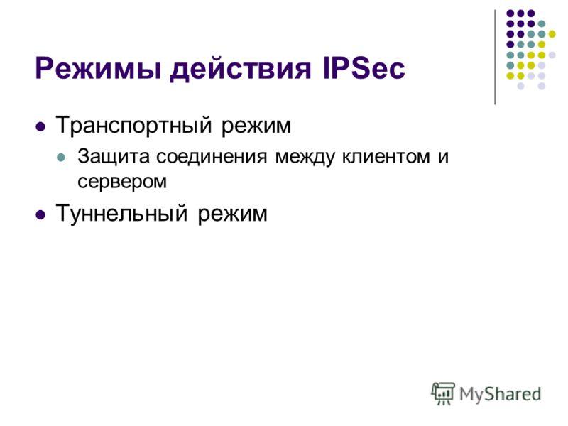 Режимы действия IPSec Транспортный режим Защита соединения между клиентом и сервером Туннельный режим