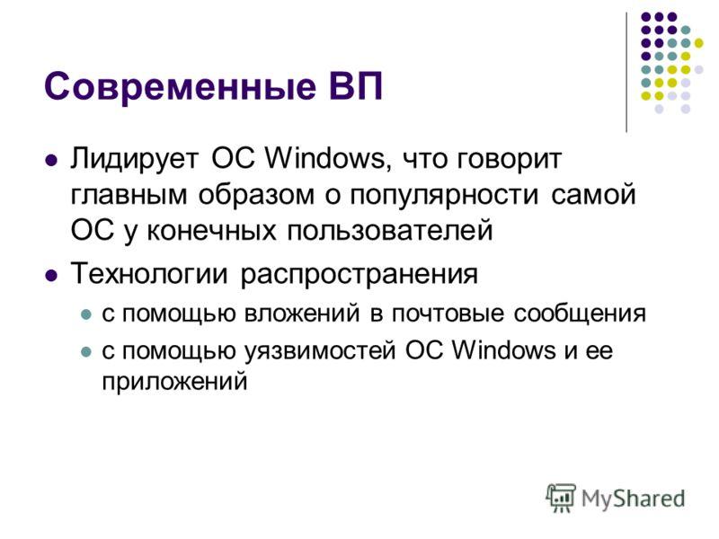 Современные ВП Лидирует ОС Windows, что говорит главным образом о популярности самой ОС у конечных пользователей Технологии распространения с помощью вложений в почтовые сообщения с помощью уязвимостей ОС Windows и ее приложений