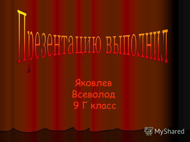 Яковлев Всеволод 9 Г класс