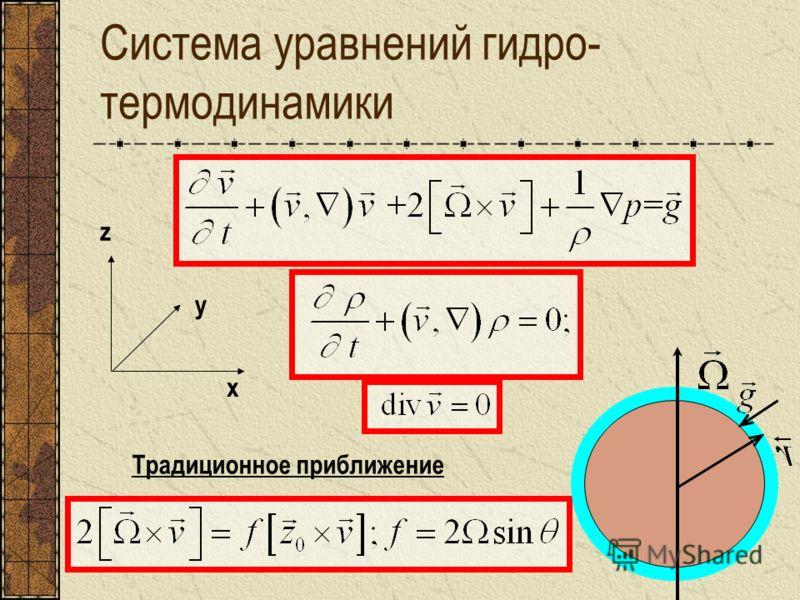Система уравнений гидро- термодинамики Традиционное приближение x y z