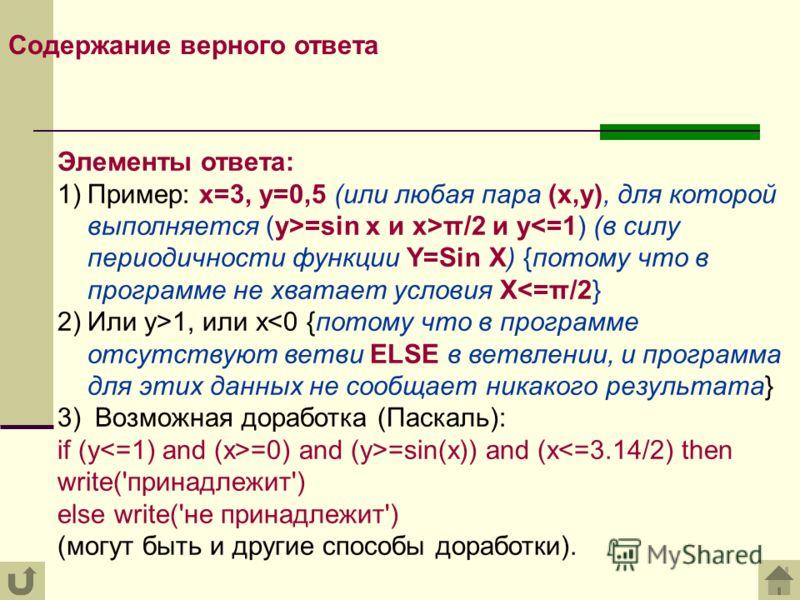 Содержание верного ответа Элементы ответа: 1)Пример: x=3, y=0,5 (или любая пара (x,y), для которой выполняется (y>=sin x и x>π/2 и y