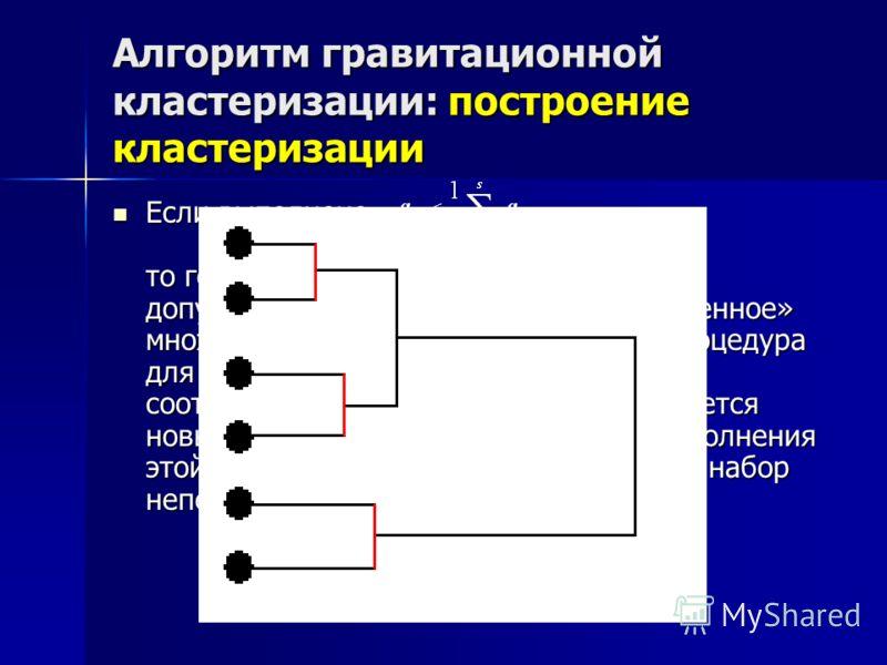 Алгоритм гравитационной кластеризации: построение кластеризации Если выполнено то говорим, что естественный кластер допускает разбиение на более «качественное» множество кластеров и выполняется процедура для его детей. Иначе, множество точек, соответ