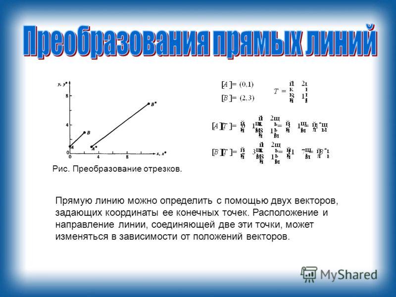 Прямую линию можно определить с помощью двух векторов, задающих координаты ее конечных точек. Расположение и направление линии, соединяющей две эти точки, может изменяться в зависимости от положений векторов. Рис. Преобразование отрезков.