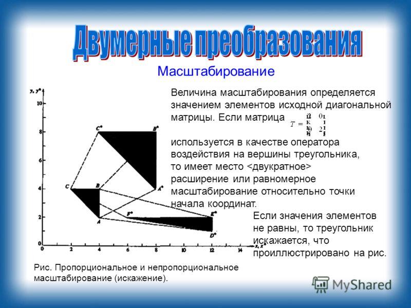 Масштабирование Величина масштабирования определяется значением элементов исходной диагональной матрицы. Если матрица используется в качестве оператора воздействия на вершины треугольника, то имеет место расширение или равномерное масштабирование отн