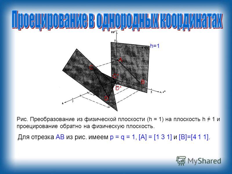 Для отрезка АВ из рис. имеем р = q = 1, [А] = [1 3 1] и [В]=[4 1 1]. А В С D С*С* D* Рис. Преобразование из физической плоскости (h = 1) на плоскость h = 1 и проецирование обратно на физическую плоскость. h=1