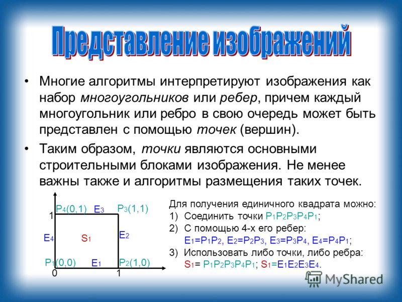 Многие алгоритмы интерпретируют изображения как набор многоугольников или ребер, причем каждый многоугольник или ребро в свою очередь может быть представлен с помощью точек (вершин). Таким образом, точки являются основными строительными блоками изобр