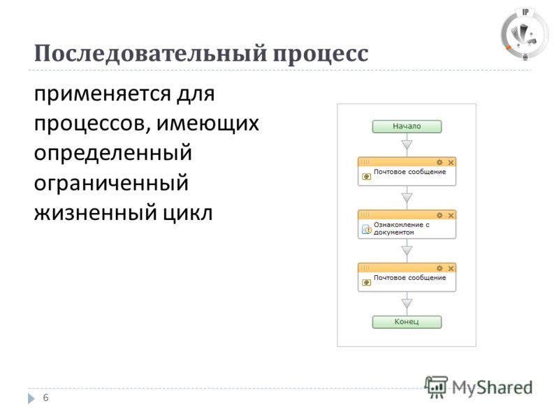 Последовательный процесс 6 применяется для процессов, имеющих определенный ограниченный жизненный цикл