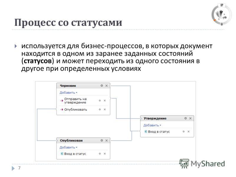 Процесс со статусами 7 используется для бизнес - процессов, в которых документ находится в одном из заранее заданных состояний ( статусов ) и может переходить из одного состояния в другое при определенных условиях