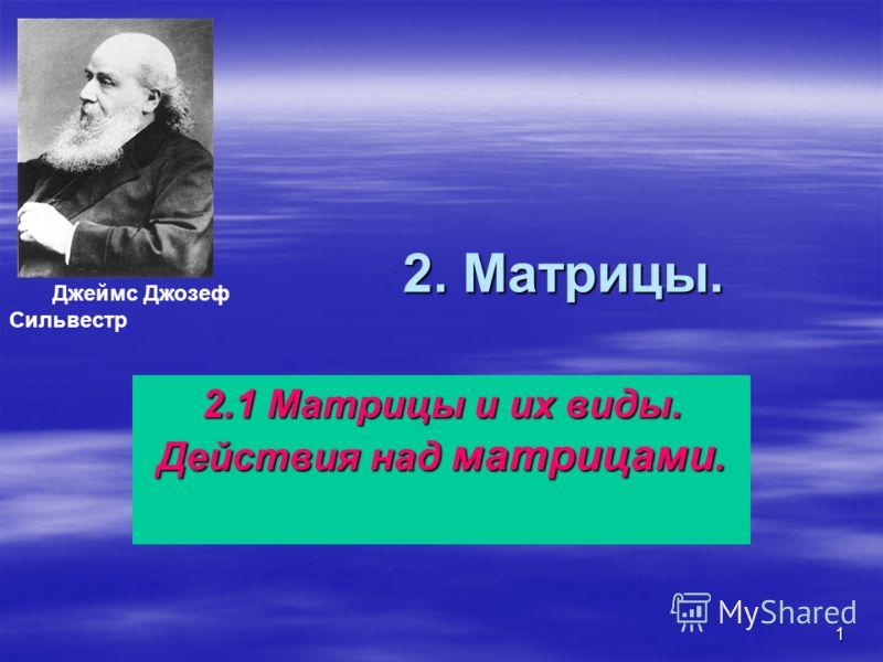 1 2. Матрицы. 2.1 Матрицы и их виды. Действия над матрицами. Джеймс Джозеф Сильвестр