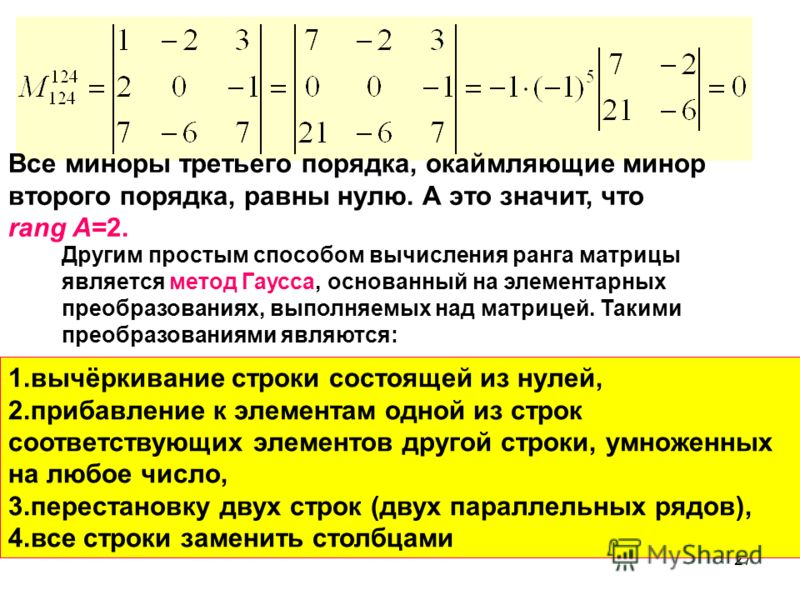 27 Другим простым способом вычисления ранга матрицы является метод Гаусса, основанный на элементарных преобразованиях, выполняемых над матрицей. Такими преобразованиями являются: 1.вычёркивание строки состоящей из нулей, 2.прибавление к элементам одн