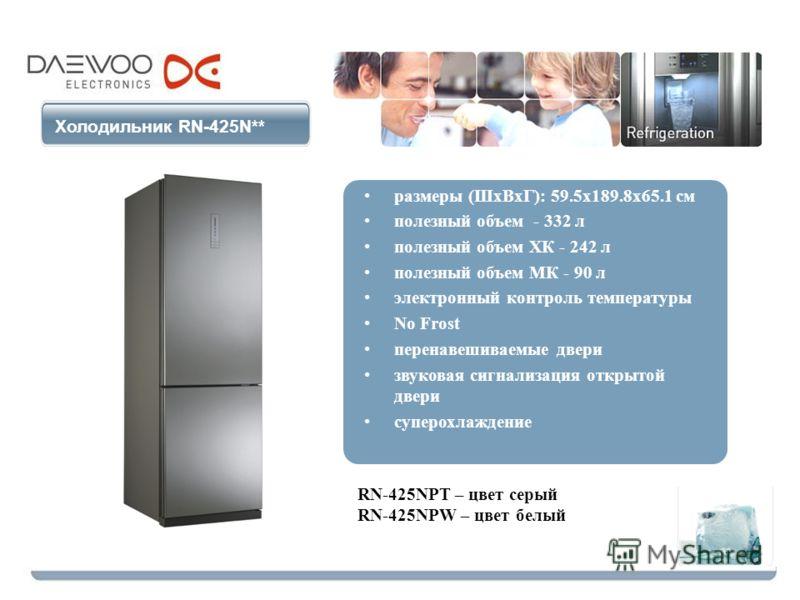 Холодильник RN-425N** размеры (ШхВхГ): 59.5х189.8х65.1 см полезный объем - 332 л полезный объем ХК - 242 л полезный объем МК - 90 л электронный контроль температуры No Frost перенавешиваемые двери звуковая сигнализация открытой двери суперохлаждение
