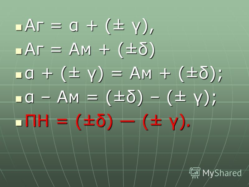Аг = α + (± γ), Аг = α + (± γ), Аг = Ам + (±δ) Аг = Ам + (±δ) α + (± γ) = Ам + (±δ); α + (± γ) = Ам + (±δ); α – Ам = (±δ) – (± γ); α – Ам = (±δ) – (± γ); ПН = (±δ) (± γ). ПН = (±δ) (± γ).