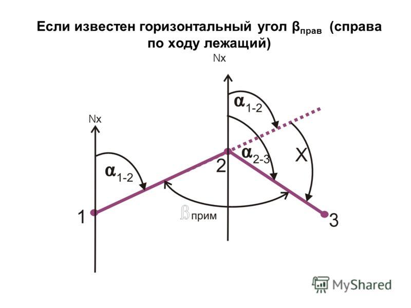 Если известен горизонтальный угол β прав (справа по ходу лежащий)