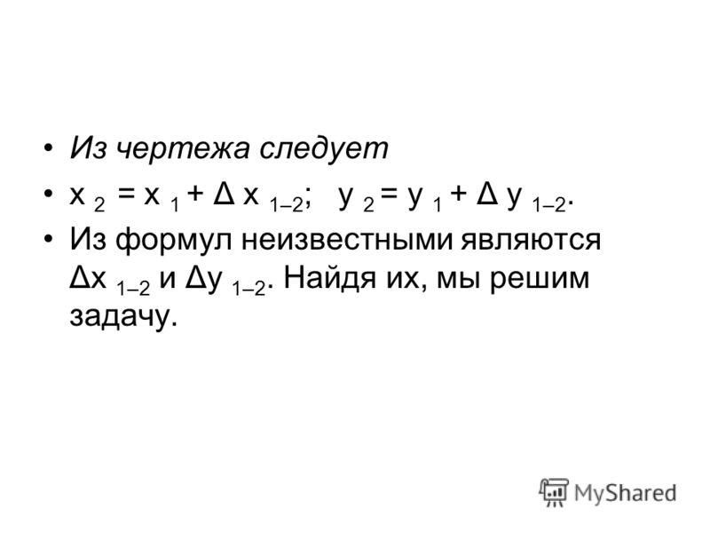 Из чертежа следует х 2 = х 1 + Δ х 1–2 ; у 2 = у 1 + Δ у 1–2. Из формул неизвестными являютcя Δх 1–2 и Δу 1–2. Найдя их, мы решим задачу.