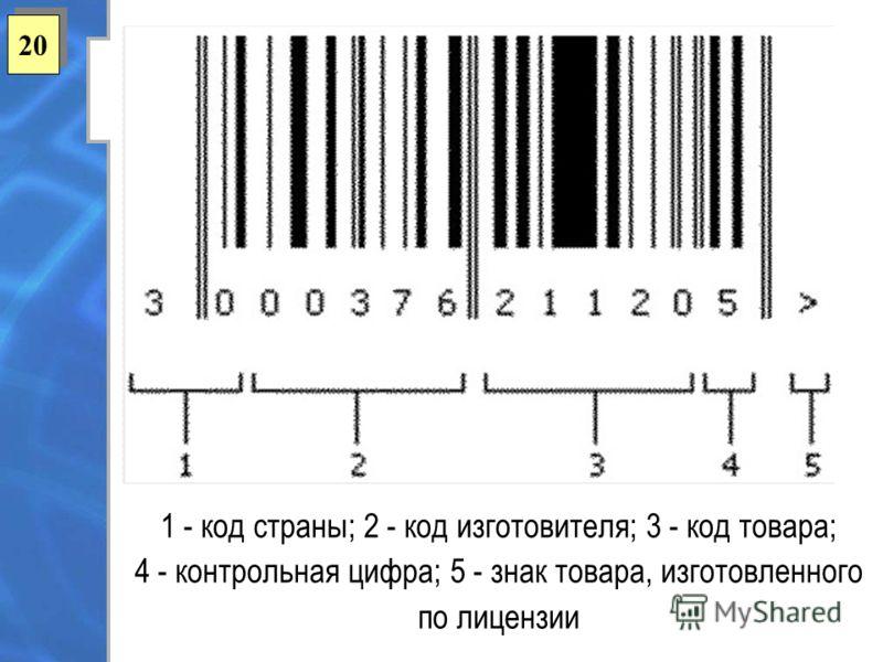 20 1 - код страны; 2 - код изготовителя; 3 - код товара; 4 - контрольная цифра; 5 - знак товара, изготовленного по лицензии