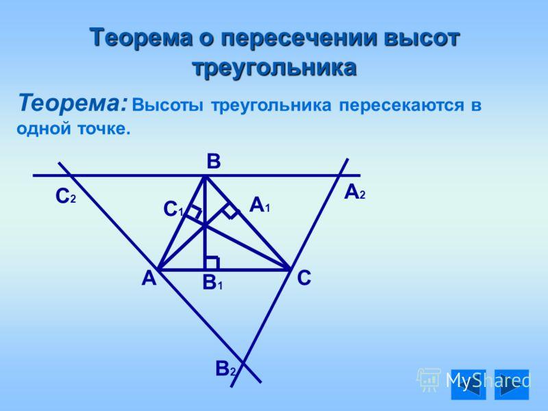Теорема о пересечении высот треугольника Теорема: Высоты треугольника пересекаются в одной точке. А В С В1В1 А1А1 С1С1 А2А2 С2С2 В2В2