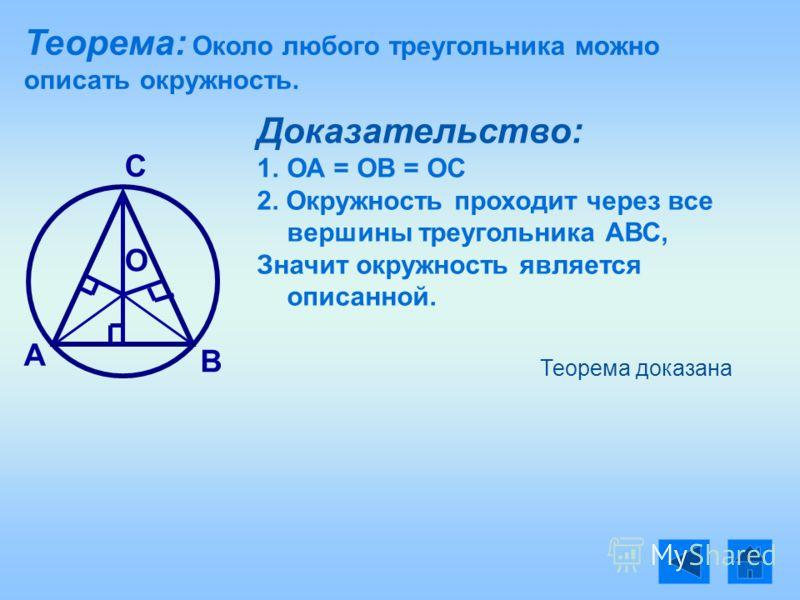 Теорема: Около любого треугольника можно описать окружность. А В С Доказательство: 1. 1.ОА = ОВ = ОС 2. Окружность проходит через все вершины треугольника АВС, Значит окружность является описанной. Теорема доказана О