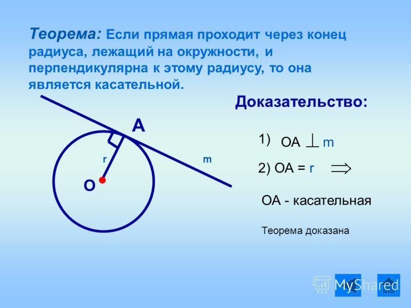 Теорема: Если прямая проходит через конец радиуса, лежащий на окружности, и перпендикулярна к этому радиусу, то она является касательной. О r А Доказательство: 1) ОА m m ОА = r2) ОА - касательная Теорема доказана