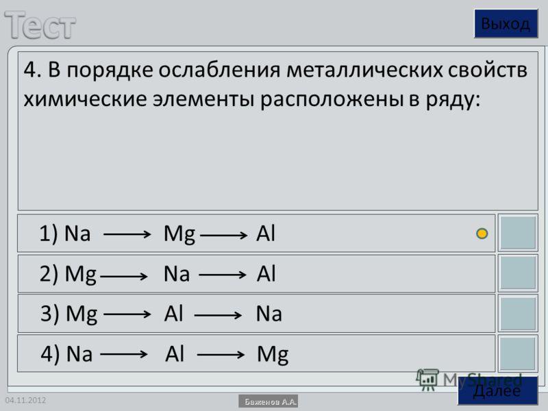 04.11.2012 4. В порядке ослабления металлических свойств химические элементы расположены в ряду: 1) Na Mg Al 2) Mg Na Al 3) Mg Al Na 4) Na Al Mg