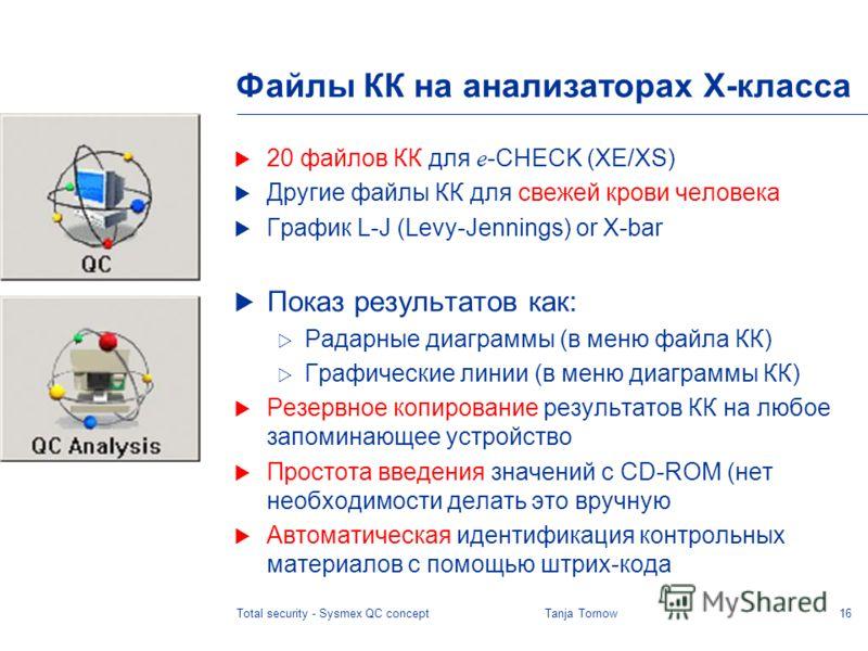 16Total security - Sysmex QC conceptTanja Tornow Файлы КК на анализаторах X-класса 20 файлов КК для e -CHECK (XE/XS) Другие файлы КК для свежей крови человека График L-J (Levy-Jennings) or X-bar Показ результатов как: Радарные диаграммы (в меню файла