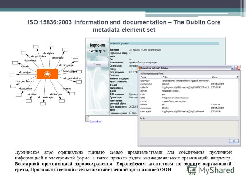 Дублинское ядро официально принято семью правительствами для обеспечения публичной информацией в электронной форме, а также принято рядом наднациональных организаций, например, Всемирной организацией здравоохранения, Европейским агентством по защите