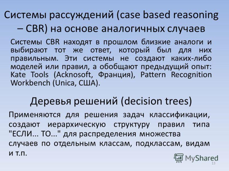 Системы рассуждений (case based reasoning – CBR) на основе аналогичных случаев Системы CBR находят в прошлом близкие аналоги и выбирают тот же ответ, который был для них правильным. Эти системы не создают каких-либо моделей или правил, а обобщают пре