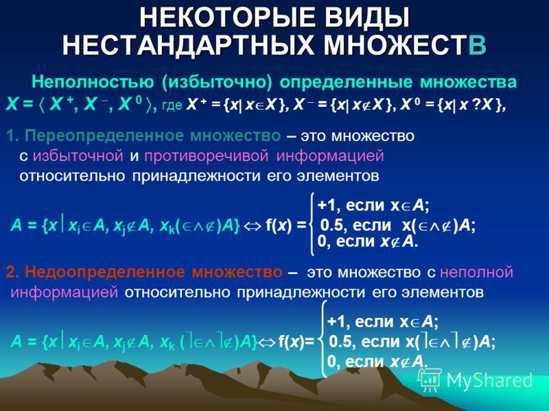 НЕКОТОРЫЕ ВИДЫ НЕСТАНДАРТНЫХ МНОЖЕСТВ Неполностью (избыточно) определенные множества X = X +, X, X 0, где X + = {x x X }, X = {x x X }, X 0 = {x x ?X }, 1. Переопределенное множество – это множество с избыточной и противоречивой информацией относител