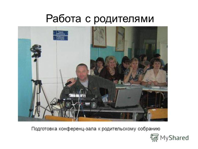 Работа с родителями Подготовка конференц-зала к родительскому собранию