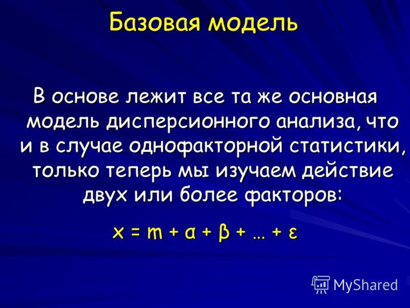 Базовая модель В основе лежит все та же основная модель дисперсионного анализа, что и в случае однофакторной статистики, только теперь мы изучаем действие двух или более факторов: x = m + α + β + … + ε
