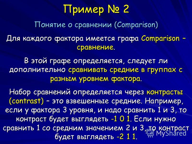 Пример 2 Понятие о сравнении (Comparison) Для каждого фактора имеется графа Comparison – сравнение. В этой графе определяется, следует ли дополнительно сравнивать средние в группах с разным уровнем фактора. Набор сравнений определяется через контраст