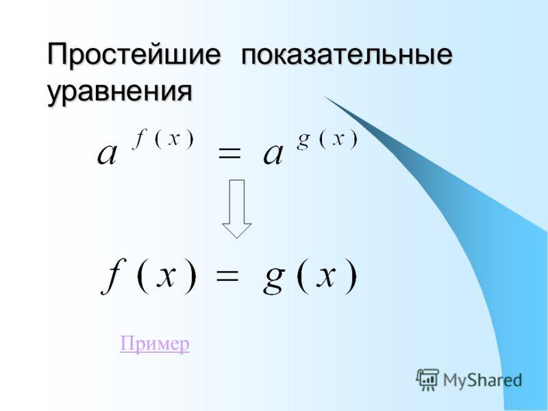 Простейшие показательные уравнения Пример